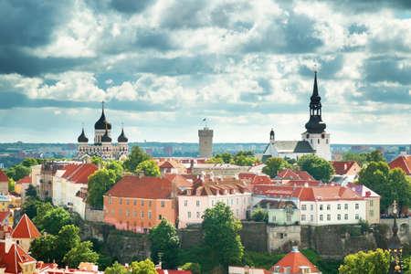 view to Orthodox church Alexander Nevsky in old Tallinn
