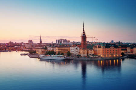 Stockholm at night in summer Banco de Imagens