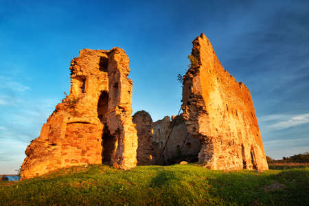 northern light: Old castle ruins in sunset light Stock Photo