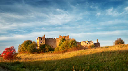 Old castle ruins in sunset light Stock Photo