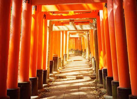 View to Torii gates in Fushimi Inari Shrine Stock Photo