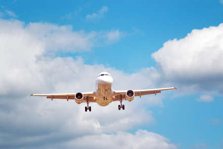 Closeup of a plane at landing