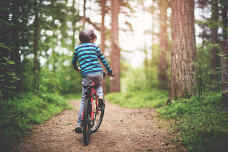 child on a bicycle in the forest in early morning Фото со стока
