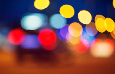 Trafficlights in the city at night time Stock Photo