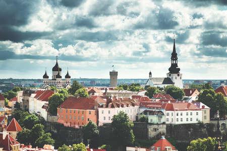 Old Tallinn. Estonia. View to Orthodox church Alexander Nevsky from Oleviste church in summer Stock Photo