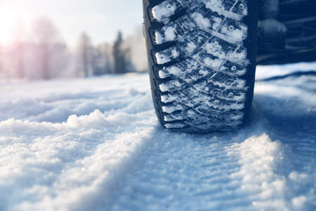 Closeup of car tires in winter