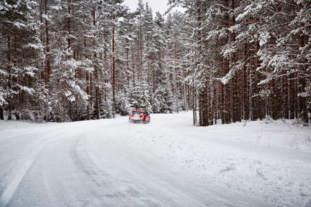 winter road in the morning after snowfall