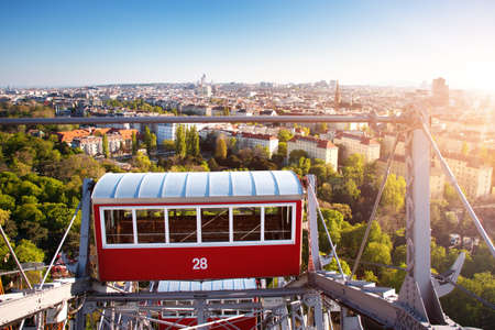 Aerial view to Vienna in Austria from Ferris Wheel