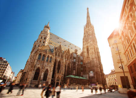 View to St. Stephens Cathedral in Vienna, Austria 写真素材 - 126498825