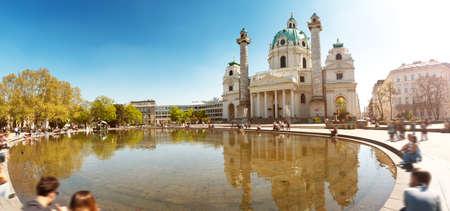 Widok na kościół św. Karola w Wiedniu
