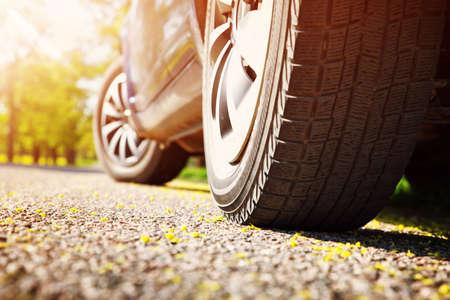 Car tires closeup on asphalt road on summer day at park