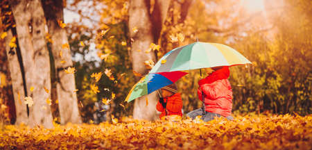 children with umbrellas in beautiful autumnal day. Boys playing outdoors in the park