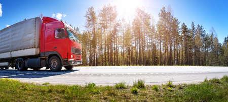 Truck moving on the highway in summer Standard-Bild