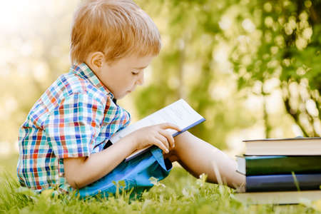 Little boy sitting on the meadow and reading a book. Banque d'images