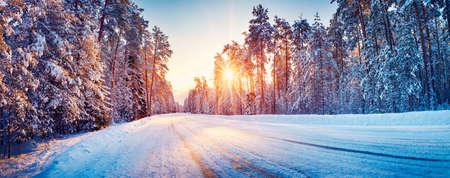 Panoramic view of the beautiful rural road in winter