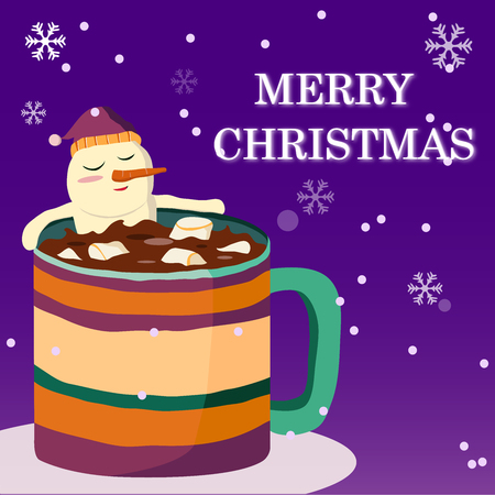 Merry Christmas and Happy New Year  with Marshmallow is soaked in cocoa water happily , Christmas advertising concept. design vector Foto de archivo - 109583512