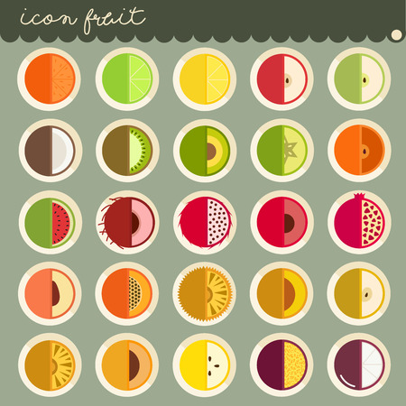 25 set Basic Flat design, colors of fruits vector collections, Set of fruits are apple, banana, orange, grapes, cherries, strawberry, lemon, Isolated on green background, part 3 - icons illustration.