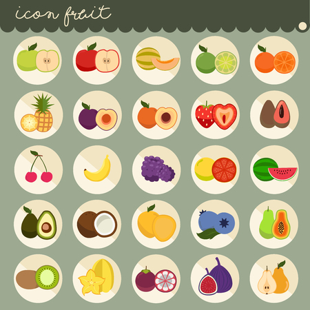 25 set Basic Flat design, colors of fruits vector collections, Set of fruits are apple, banana, orange, grapes, cherries, strawberry, lemon, Isolated on green background, part 1 - icons illustration.