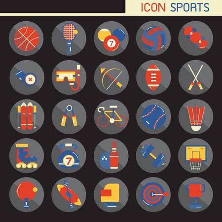 25 Set Flaches Design, enthält solche Symbole Rugby, Bowling, Fußball, Basketball, Baseball, Tennis und mehr, Elemente und Gegenstände des Sports, isoliert auf Hintergrund, Teil 1 - Vektorsymbole Illustration.