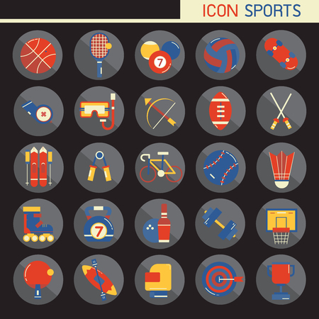 25 set Flat design, Contains such Icons rugby, bowling, football, basketball, baseball, tennis and more, Elements and objects of sport, Isolated on background, part 1 - vector icons illustration.