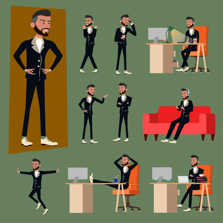 Vector illustration in a flat style of business office men or boss in working uniform suit. varies action of salary man using smartphone, working with computer pc laptop in work desk and relax sofa.