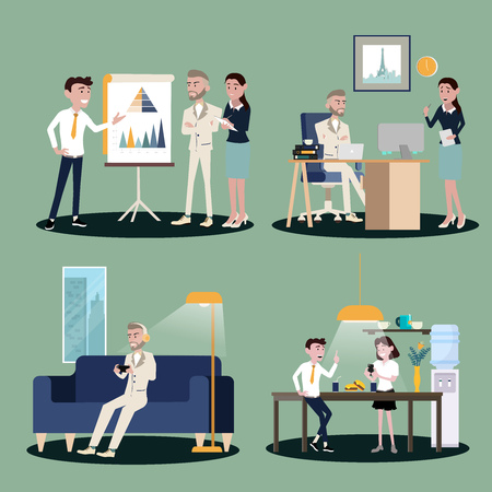 Vector illustration in a flat style of business office team workers women, men and boss in uniform in meeting room, presentation in various action.part 7 - vector icons illustration.