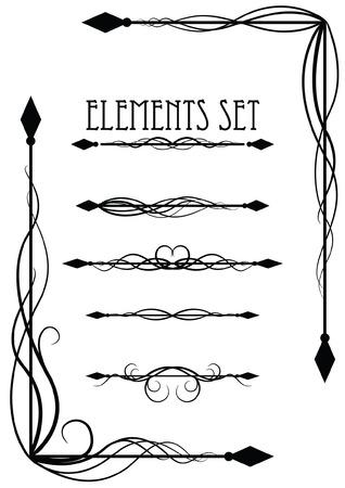 Corner and divider elements set 3 Vector