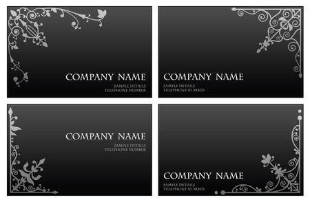 Floral corner business card set Vector