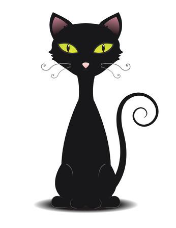 Cute illustration of a black cat Vector