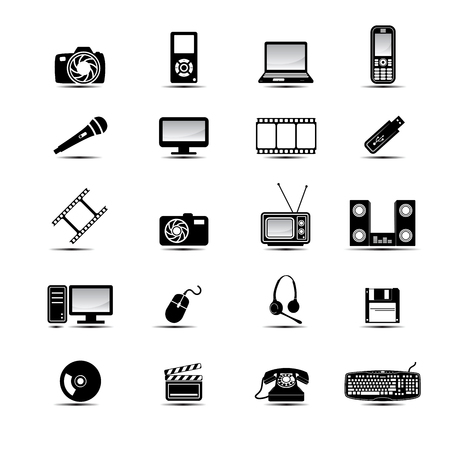 Simple multimedia black and white icons set Stock Vector - 4476864