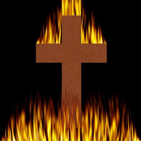 Cross on fire photo