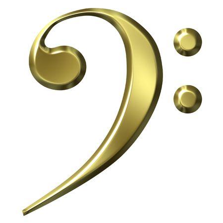 clave de fa: 3D Golden clave de Fa