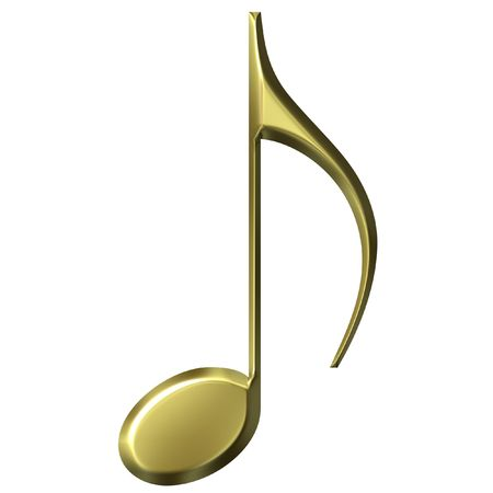 eighth: 3D Golden Eighth Note Stock Photo