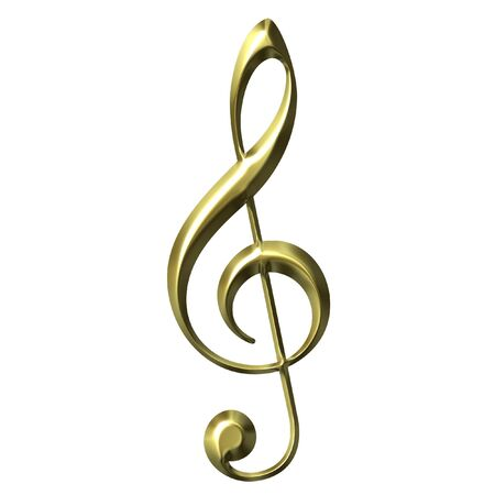 treble clef: 3D Golden Treble Clef Stock Photo