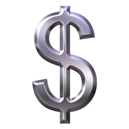3D Silver Dollar Symbol photo