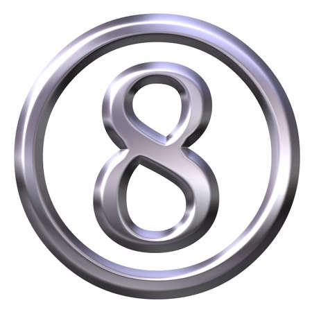 nickel: 3D Silver Number 8 Stock Photo