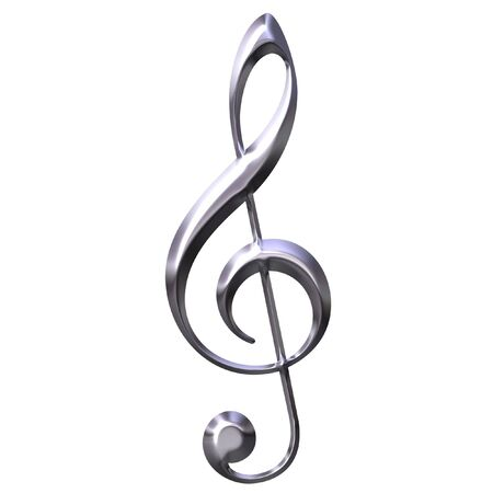 music theory: 3D Silver Treble Clef