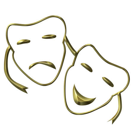 pantomime: Theatrical masks of drama and comedy Stock Photo