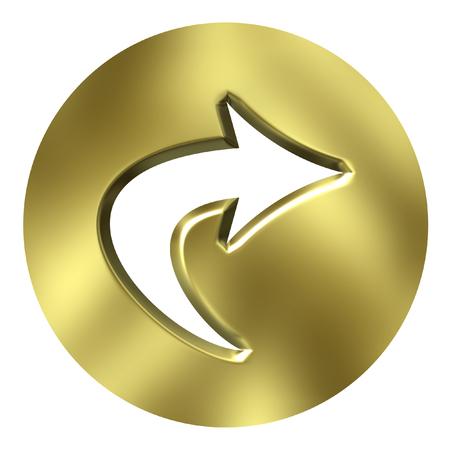 right path: 3D Golden Arrow Button  Stock Photo