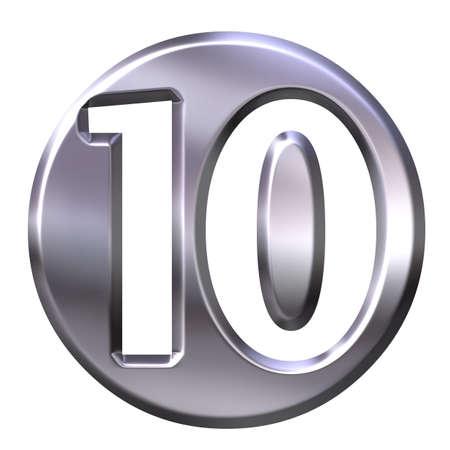 3D Silver Framed Number 10