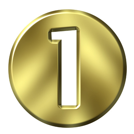 numeral: 3D Golden Framed Number 1
