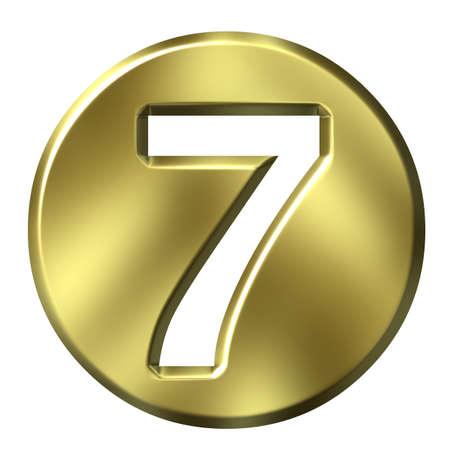 framed: 3D Golden Framed Number 7 Stock Photo
