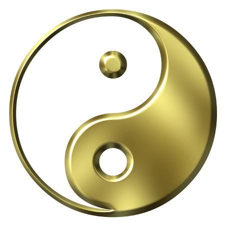 3D Golden Tao Symbol Stock Photo
