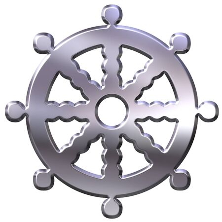 shakti: 3D Silver Buddhism Symbol Wheel of Dharma