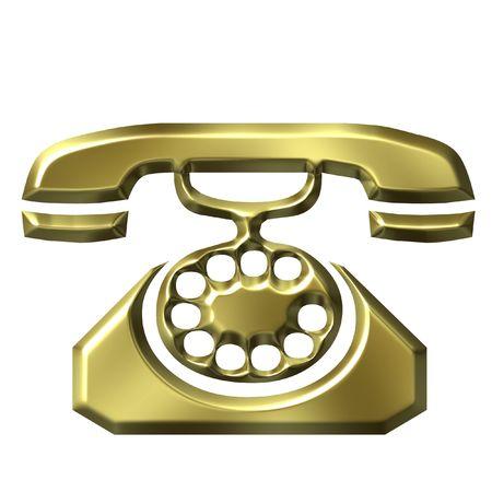 3D Golden Antique Telephone photo