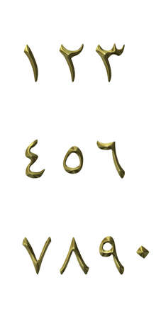 arabic number: 3D Golden Arabic Numbers