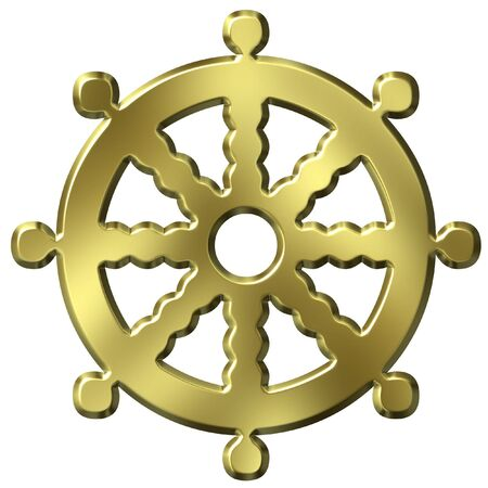 dharma: 3D Golden Buddhism Symbol Wheel of Life Stock Photo