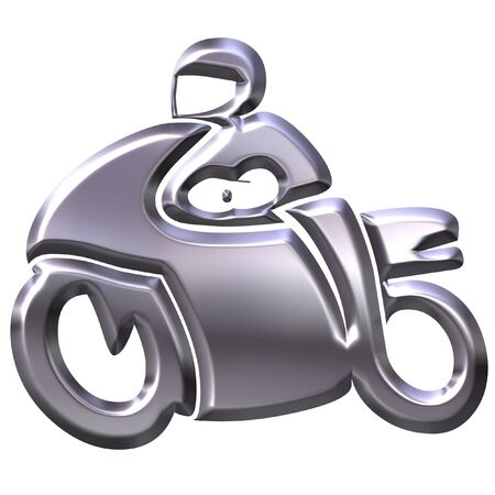 throttle: 3D Silver Motorbike