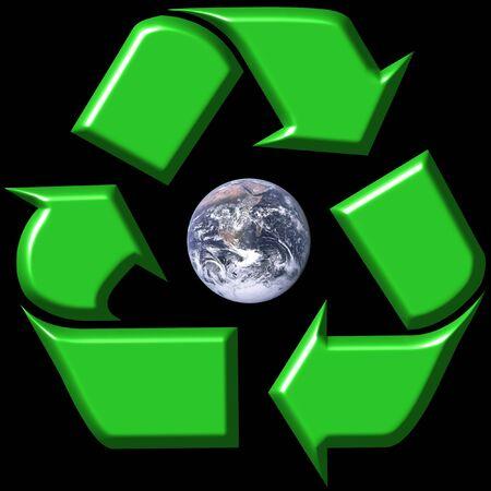 Recycling symbol surrounding earth photo