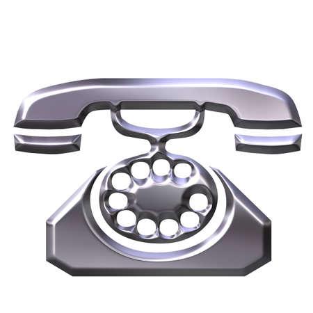 antique telephone: 3D Silver Antique Telephone